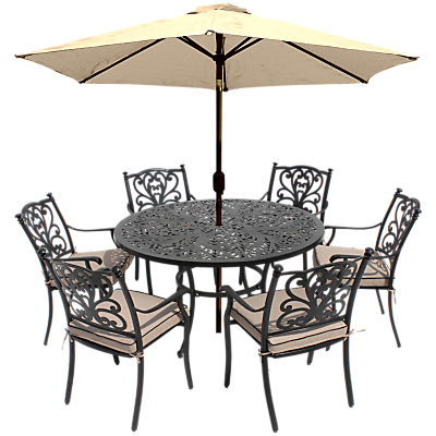 LG Outdoor Devon 6 Seater Dining Table and Chairs Set with Parasol, Bronze