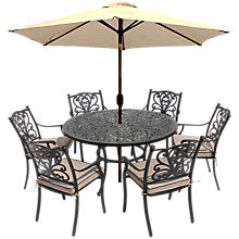Buy LG Outdoor Devon 6 Seater Dining Table and Chairs Set with Parasol, Bronze Online at johnlewis.com