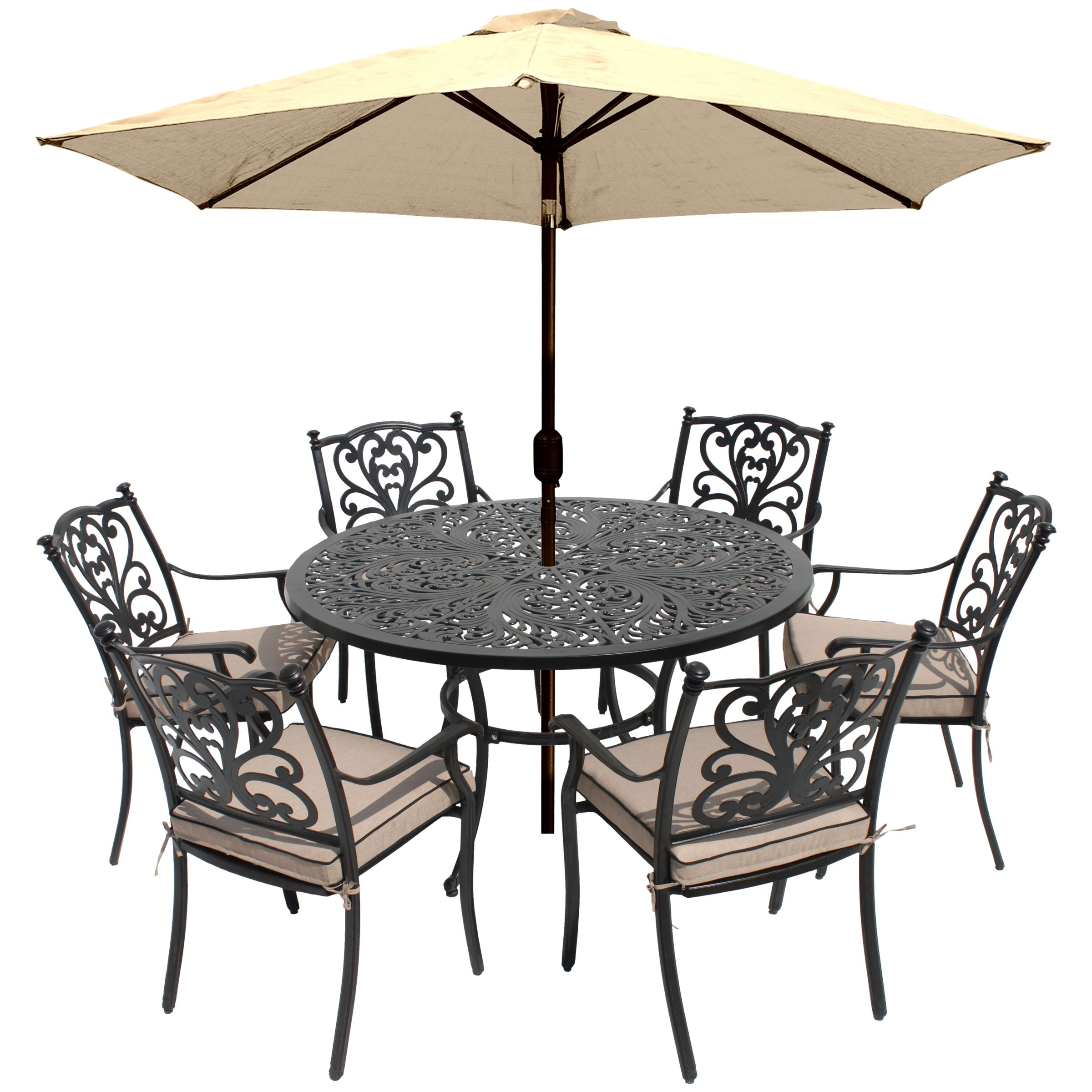 LG Outdoor LG Outdoor Devon 6 Seater Garden Dining Table and Chairs Set with Parasol, Bronze