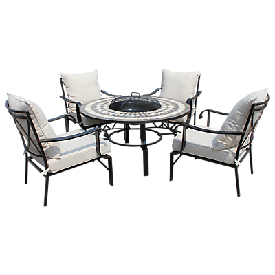 LG Outdoor Casablanca 4 Seater Outdoor Round Table Lounging Set with Firepit, Charcoal