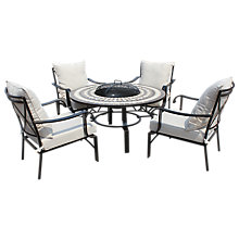 Buy LG Outdoor Casablanca 4 Seater Outdoor Round Table Lounging Set with Firepit, Charcoal Online at johnlewis.com