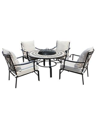 LG Outdoor Casablanca 4 Seater Garden Round Table Lounging Set with Firepit, Charcoal