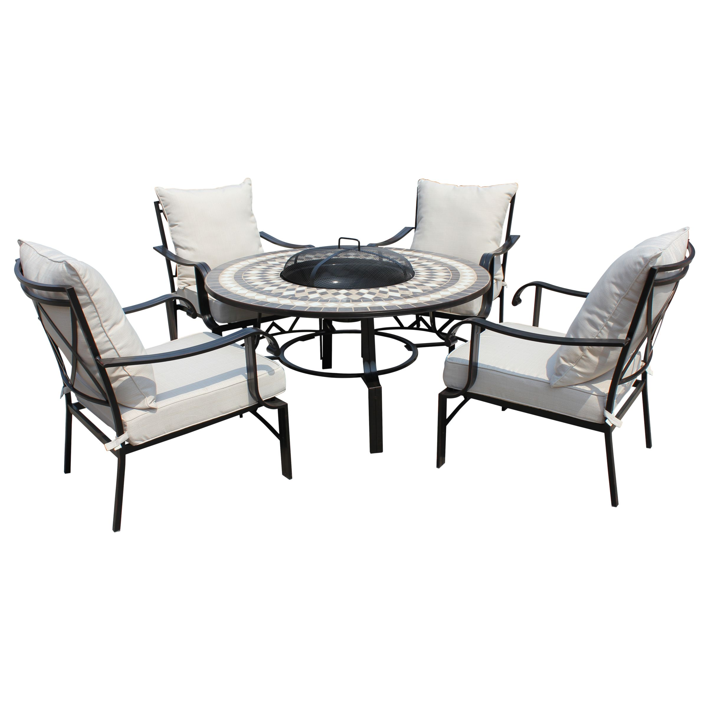 Image of: Lg Outdoor Casablanca 4 Seater Garden Round Table Lounging Set With Firepit Charcoal At John Lewis Partners