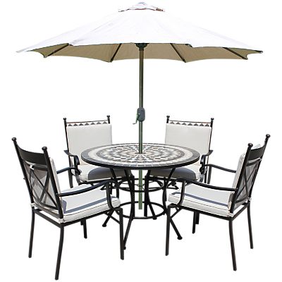 LG Outdoor Casablanca 4 Seater Outdoor Round Table Dining Set, Charcoal