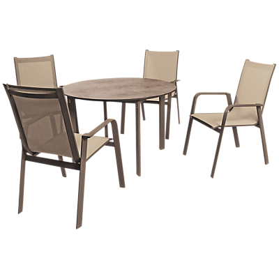 KETTLER Milano 4 Seater Outdoor Table and Chairs Set, Taupe/Hessian