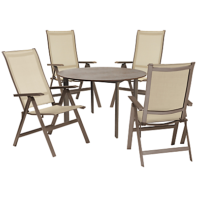 KETTLER Milano 4 Seater Outdoor Table and Recliner Chairs Set, Taupe/Hessian