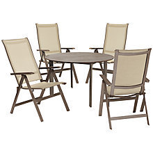 Buy KETTLER Milano 4 Seater Outdoor Table and Recliner Chairs Set, Taupe/Hessian Online at johnlewis.com