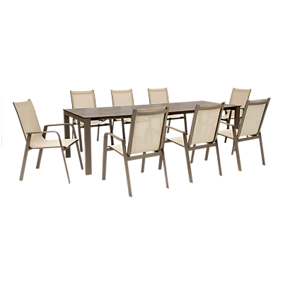 KETTLER Milano 8 Seater Outdoor Table and Chairs Set, Taupe/Hessian