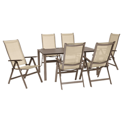 KETTLER Milano 6 Seater Outdoor Table and Recliner Chairs Set, Taupe/Hessian