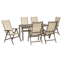 Buy KETTLER Milano 6 Seater Outdoor Table and Recliner Chairs Set, Taupe/Hessian Online at johnlewis.com