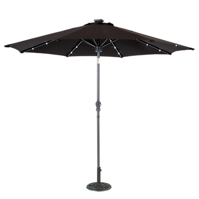 Suntime 2.7m Adjustable Parasol with Bluetooth Speaker and LED Lights, Black