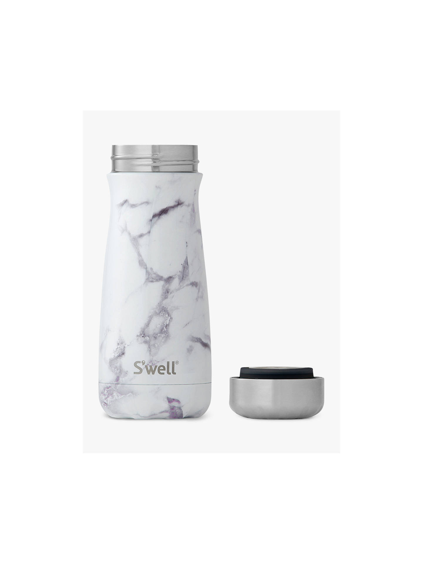 S Well White Marble Travel Vacuum Insulated Drinks Bottle