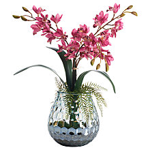 Buy Peony Artificial Cymbidium Orchard Glass Vase, Pink Online at johnlewis.com
