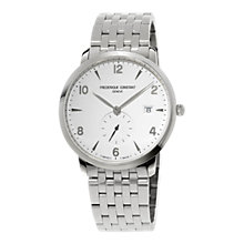 Buy Frédérique Constant FC-245SA5S6B Men's Slimline Date Bracelet Strap Watch, Silver/White Online at johnlewis.com