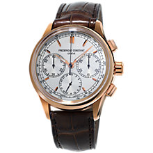 Buy Frédérique Constant FC-760V4H4 Men's Flyback Chronograph Automatic Alligator Leather Strap Watch, Brown/White Online at johnlewis.com