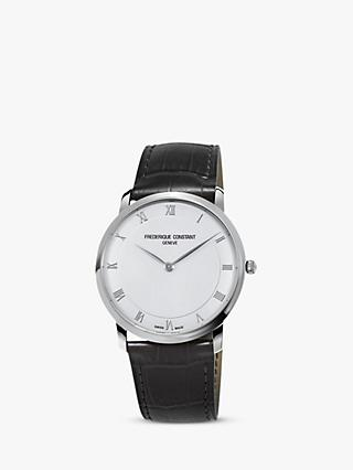 Frederique Constant FC-200RS5S36 Men's Leather Strap Watch, Black/White