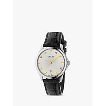 Buy Gucci YA126468 Women's G-Timeless Date Leather Strap Watch, Black/Silver Online at johnlewis.com