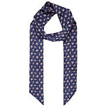 Buy Brora Liberty Silk Skinny Scarf, Navy Bird Online at johnlewis.com
