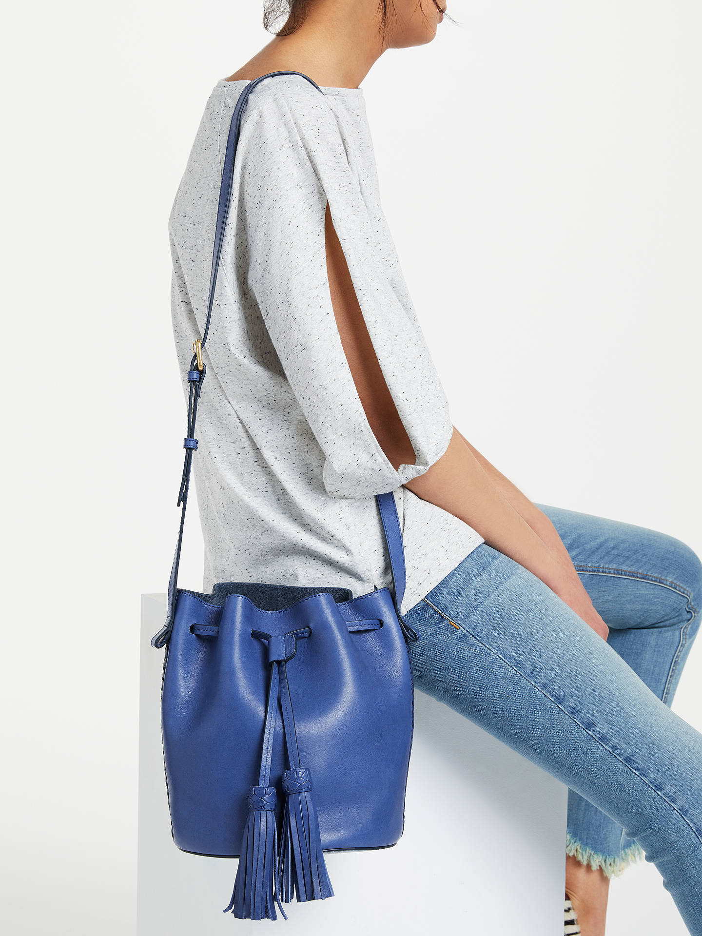 Buy AND/OR Isabella Leather Whipstitch Drawstring Bucket Bag, Blue Online at johnlewis.com