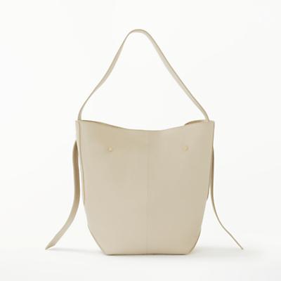 Modern Rarity Ribbon Mini Leather Hobo Bag, Cream