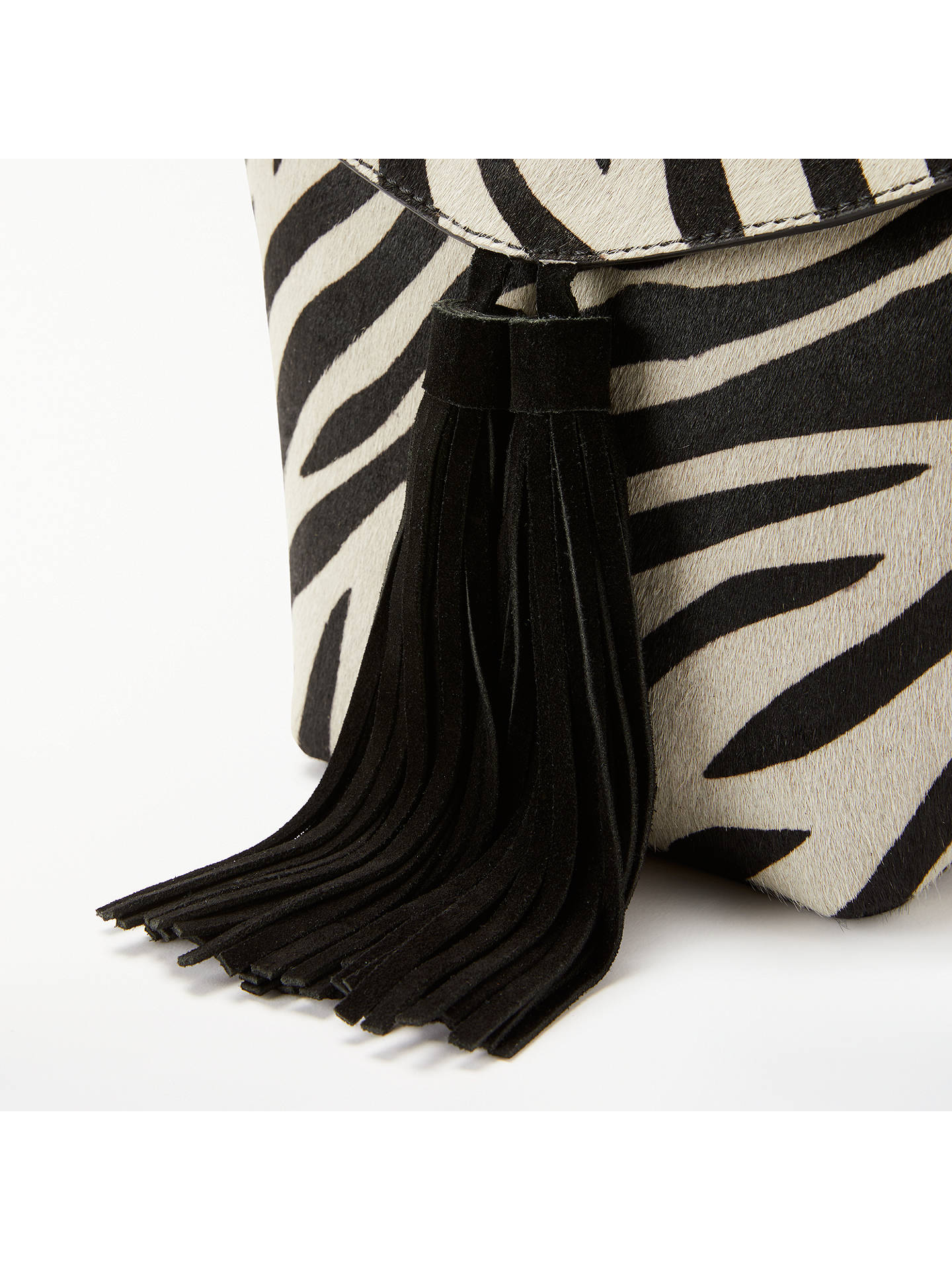 Buy AND/OR Mila Leather Flapover Tassel Cross Body Bag, Zebra Print Online at johnlewis.com