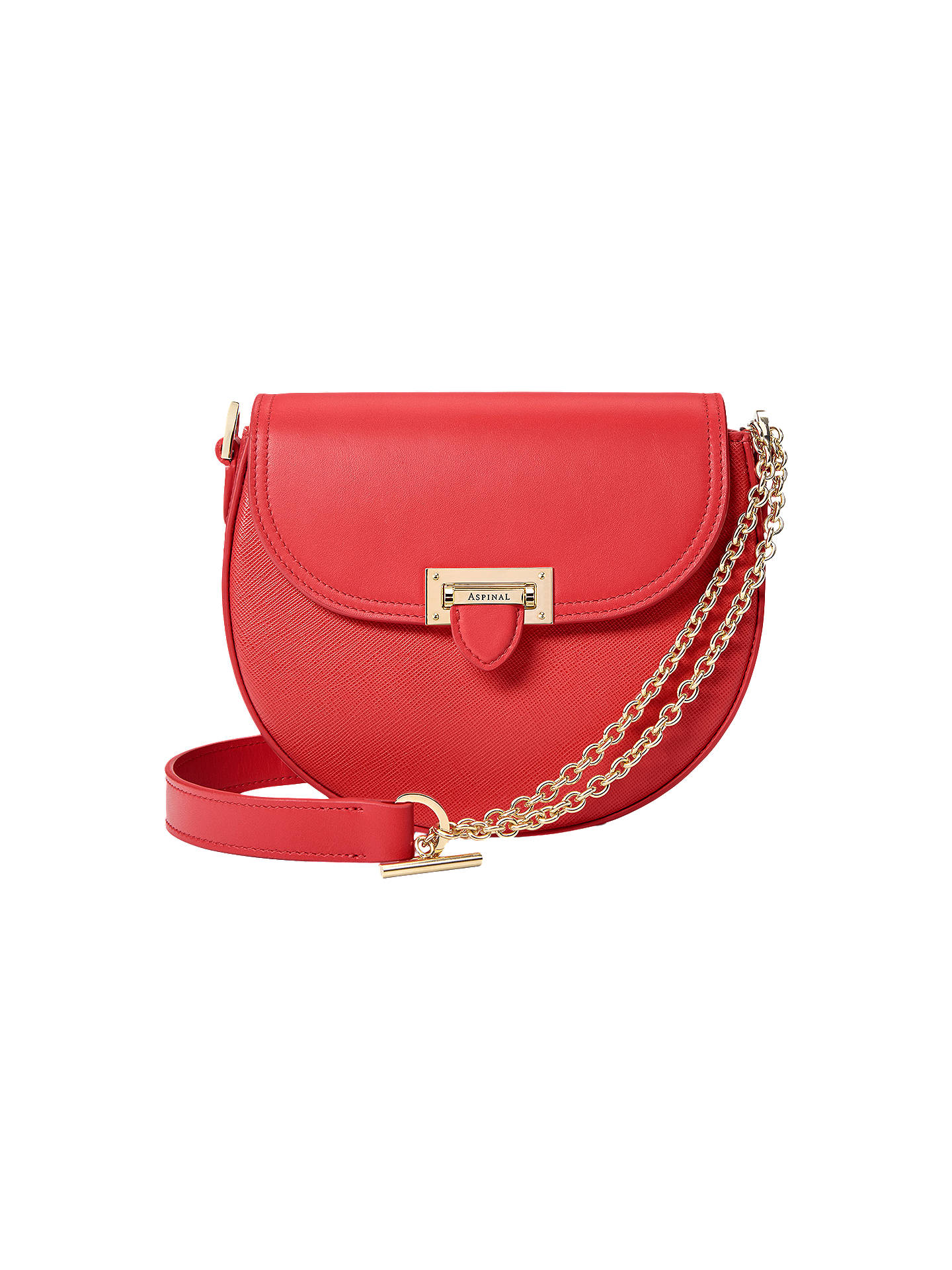 Aspinal Of London Portobello Leather Letterbox Saddle Bag Dahlia Online At Johnlewis