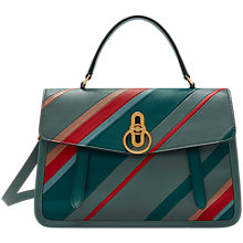 Buy Mulberry Gracey Leather Diagonal Striped Grab Bag, Antique Blue Online at johnlewis.com