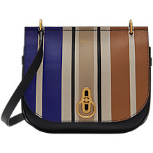 Buy Mulberry Amberley Leather Vertical Striped Cross Body Bag, Black/Multi Online at johnlewis.com