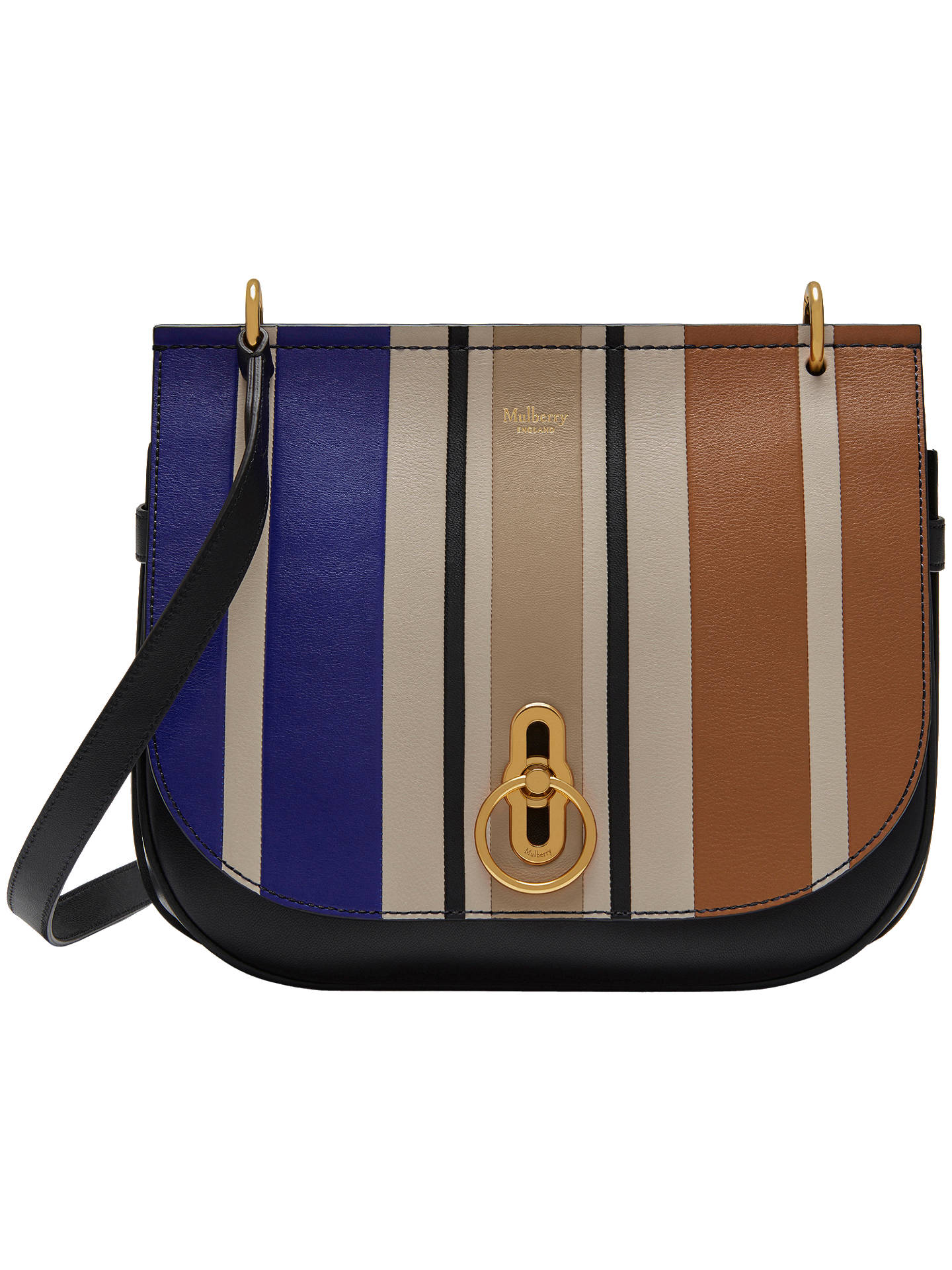 2040ef841977bb Buy Mulberry Amberley Leather Vertical Striped Cross Body Bag, Black/Multi  Online at johnlewis ...