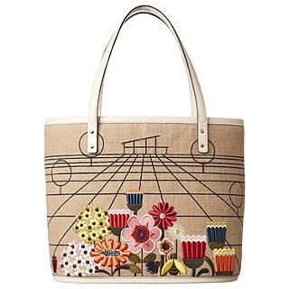 Orla Kiely Embroidery Basket Tillie Shoulder Bag, Natural