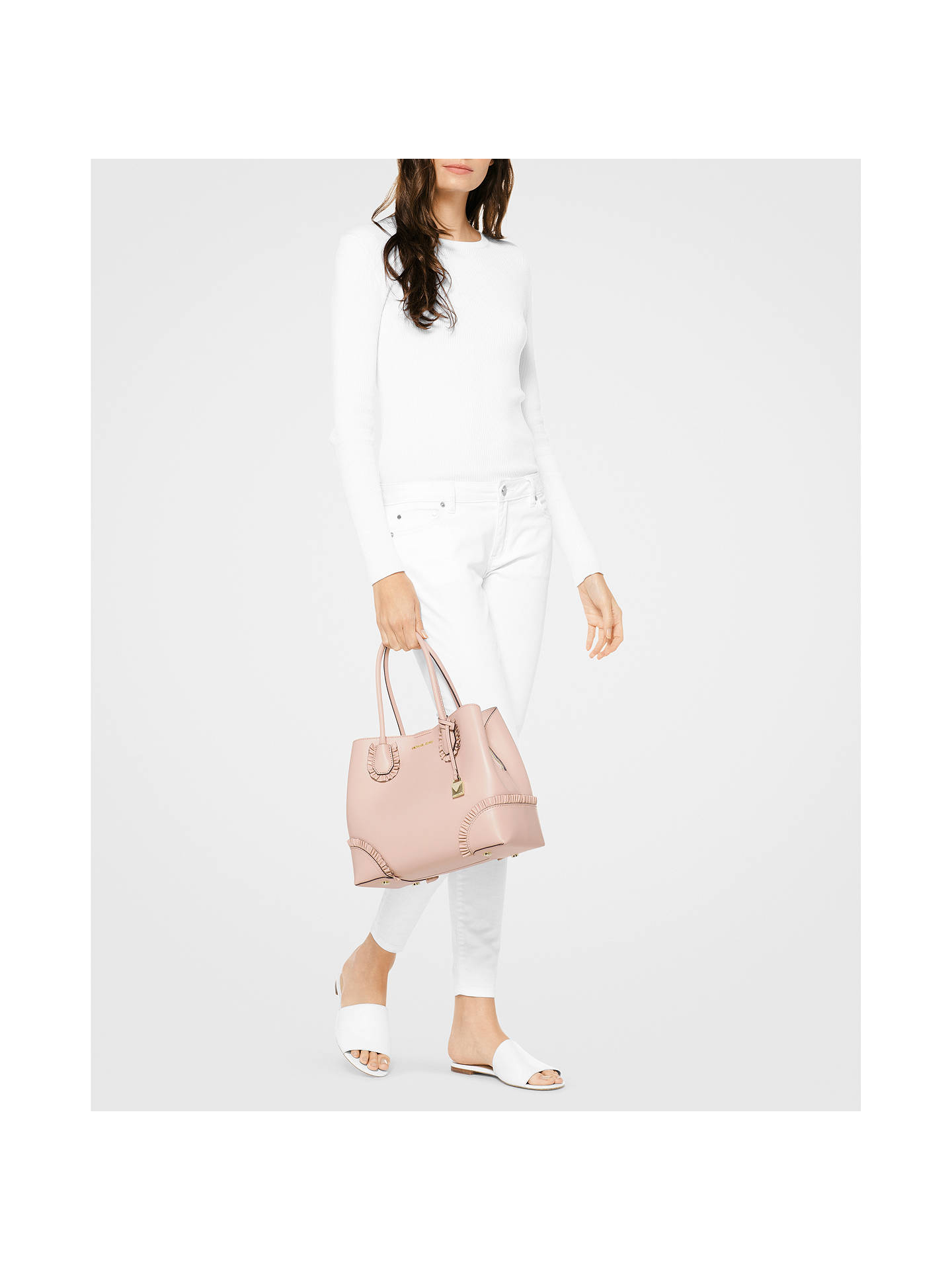 765c280ef4f573 ... Buy MICHAEL Michael Kors Mercer Gallery Large Leather Tote Bag, Soft  Pink Online at johnlewis