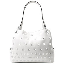 Buy MICHAEL Michael Kors Raven Embellished Large Leather Shoulder Bag, Optic White Online at johnlewis.com