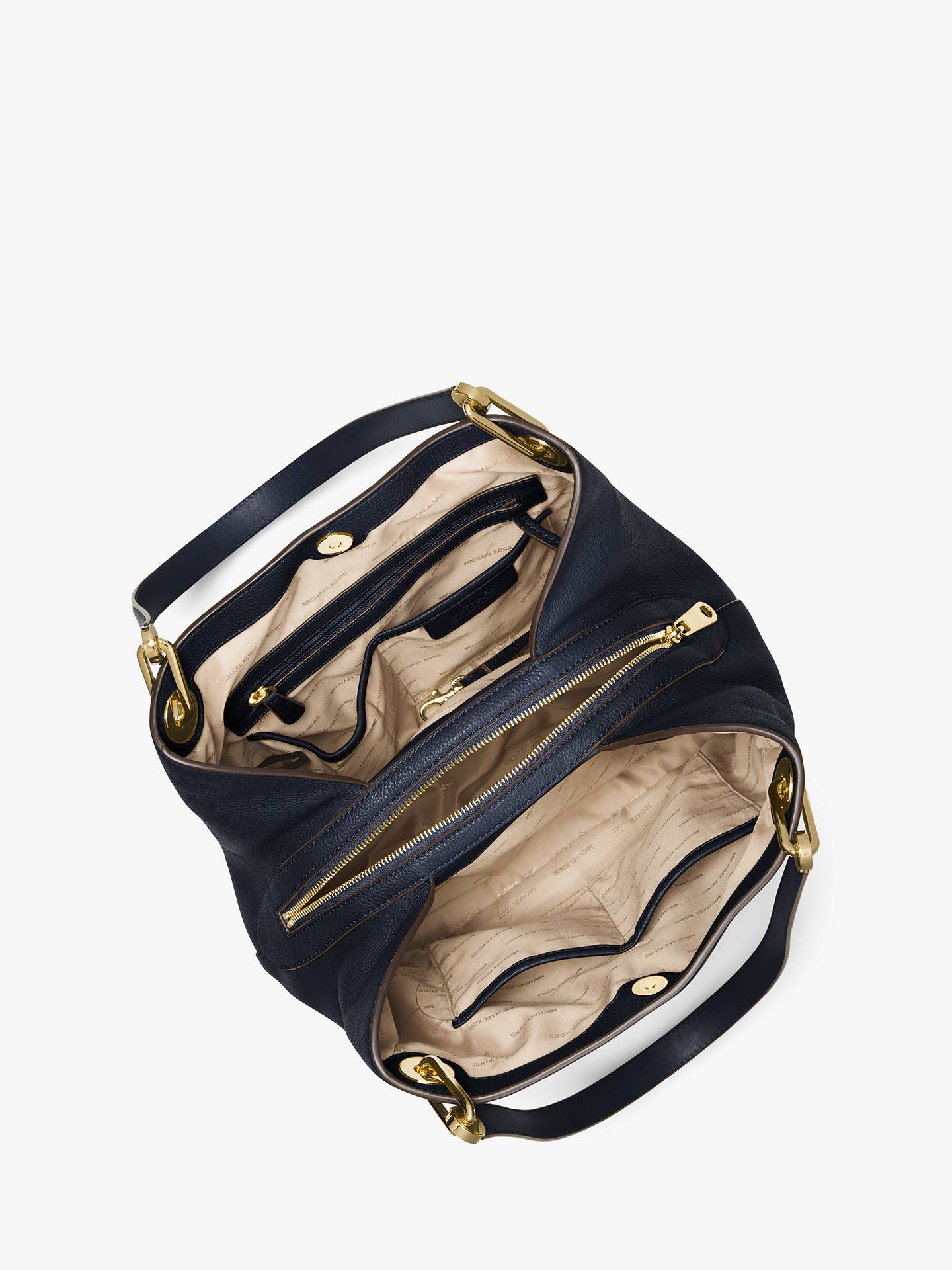 294f9f7846f2 ... Buy MICHAEL Michael Kors Raven Leather Large Shoulder Bag, Admiral  Online at johnlewis.com ...
