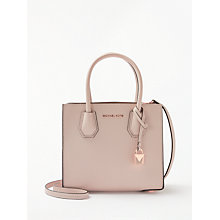 Buy MICHAEL Michael Kors Mercer Leather Messenger Bag, Soft Pink Online at johnlewis.com