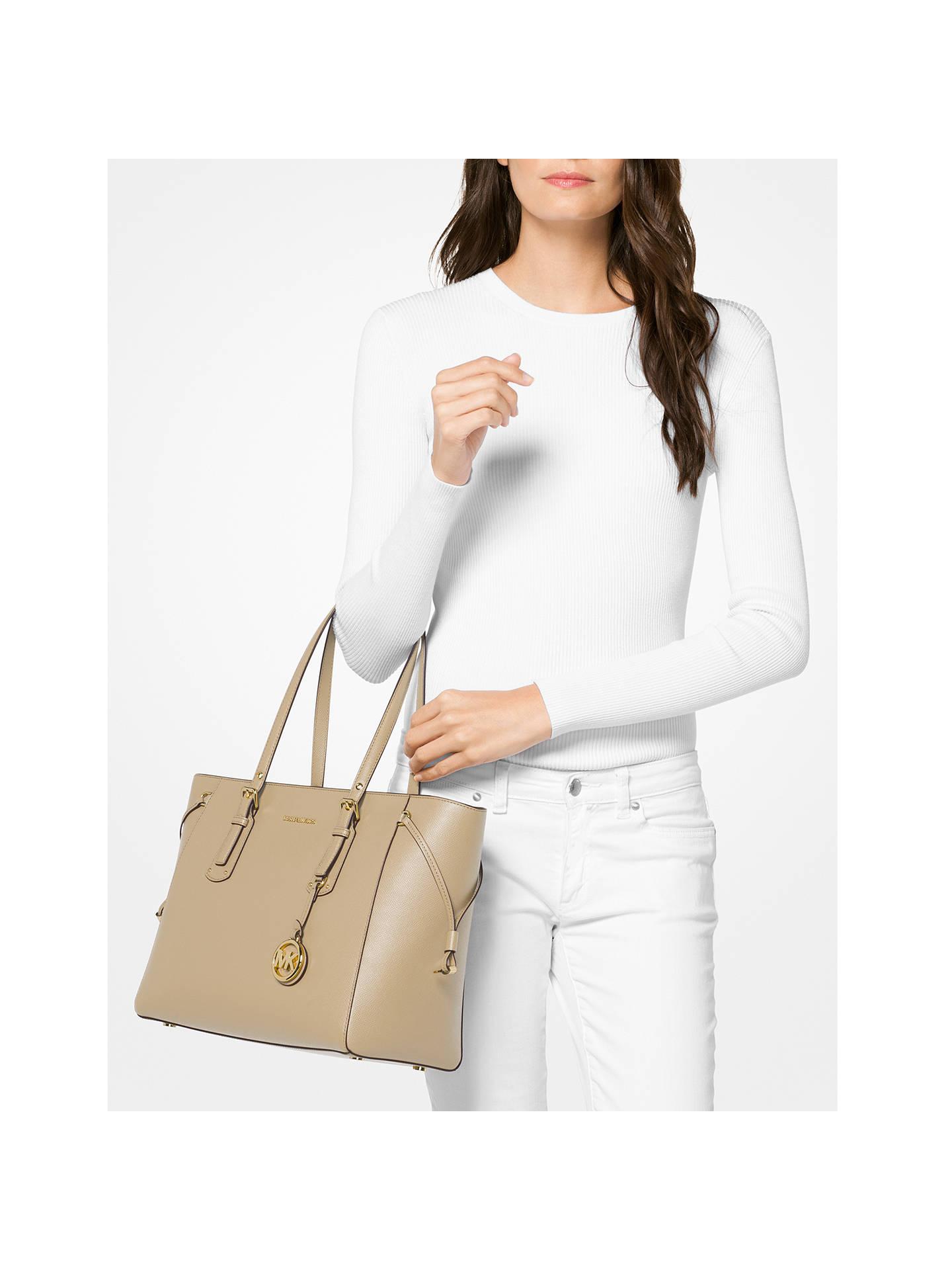 ab96619052f0 ... Buy MICHAEL Michael Kors Voyager Leather Medium Tote Bag, Oat Online at  johnlewis.com