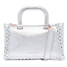 Buy Ted Baker Tia Leather Tote Bag, Silver Online at johnlewis.com