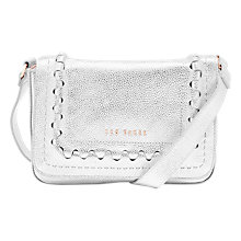 Buy Ted Baker Tippi Leather Cross Body Bag, Silver Online at johnlewis.com