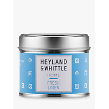 Buy Heyland & Whittle Solutions Fresh Linen Candle, Blue Online at johnlewis.com