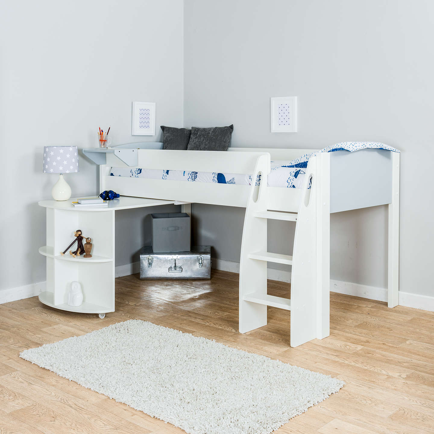 Stompa Uno S Plus Mid-Sleeper Bed Frame with Pull-Out Desk ...