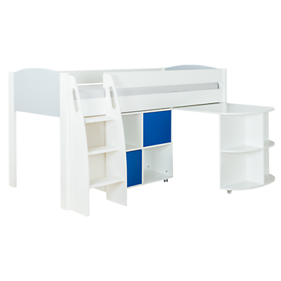 Stompa Uno S Plus Mid-Sleeper with Grey Headboard, Pull-Out Desk and 2 Door Cube Unit