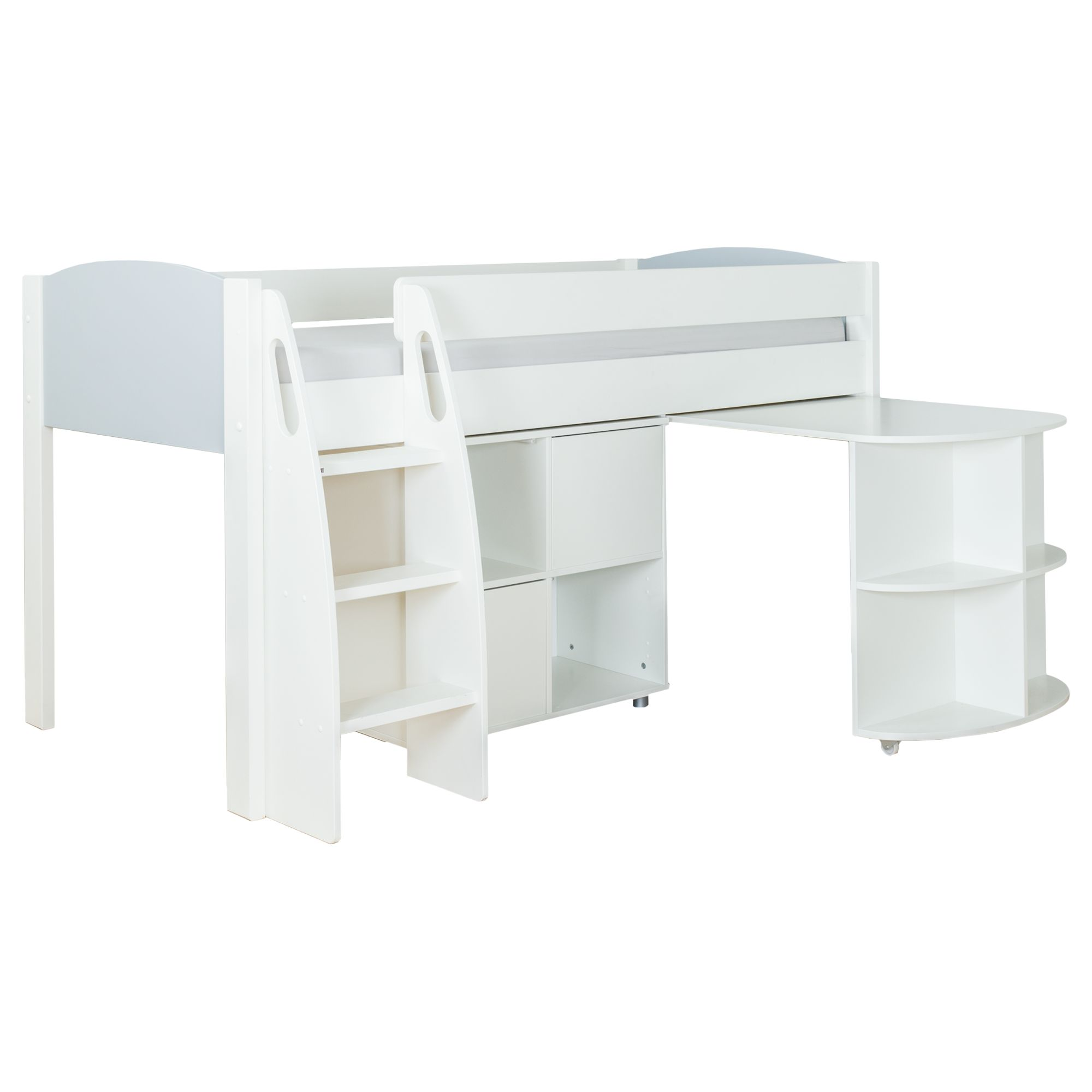 Stompa Stompa Uno S Plus Mid-Sleeper with Grey Headboard, Pull-Out Desk and 2 Door Cube Unit