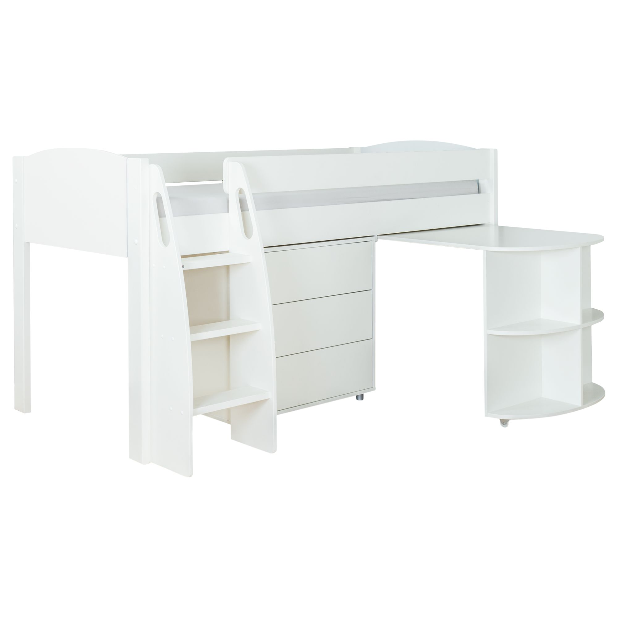Stompa Stompa Uno S Plus Mid-Sleeper with Pull-Out Desk and 3 Drawer Chest