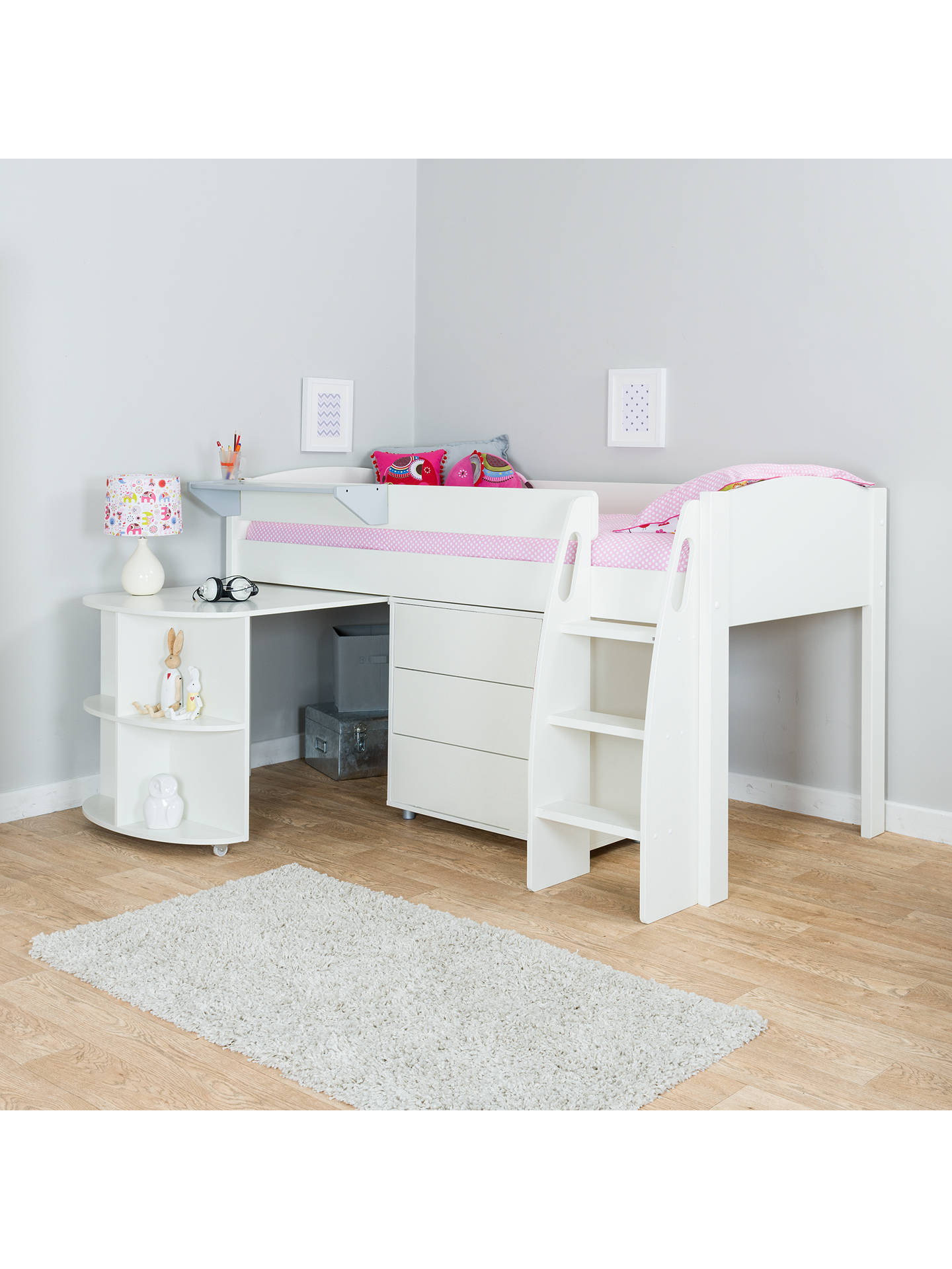 BuyStompa Uno S Plus Mid-Sleeper with Pull-Out Desk and 3 Drawer Chest, White Online at johnlewis.com