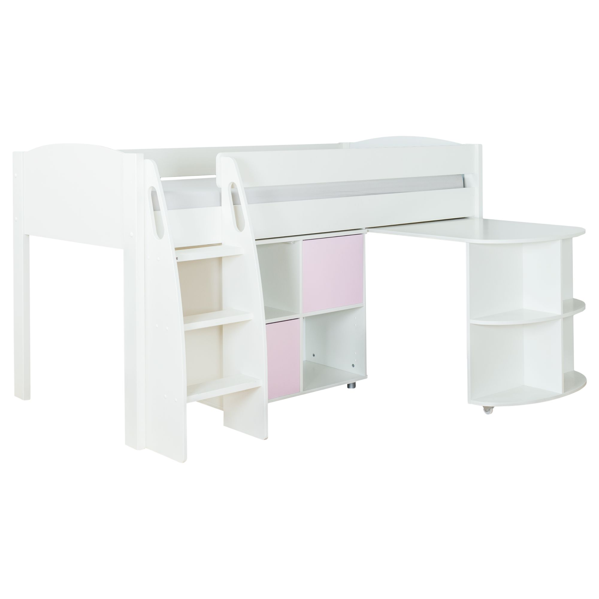 Stompa Stompa Uno S Plus Mid-Sleeper with White Headboard, Pull-Out Desk and 2 Door Cube Unit