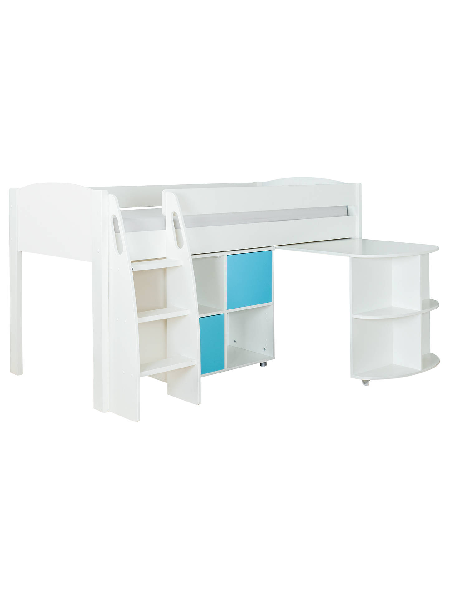 BuyStompa Uno S Plus Mid-Sleeper with White Headboard, Pull-Out Desk and 2 Door Cube Unit, White/Aqua Online at johnlewis.com