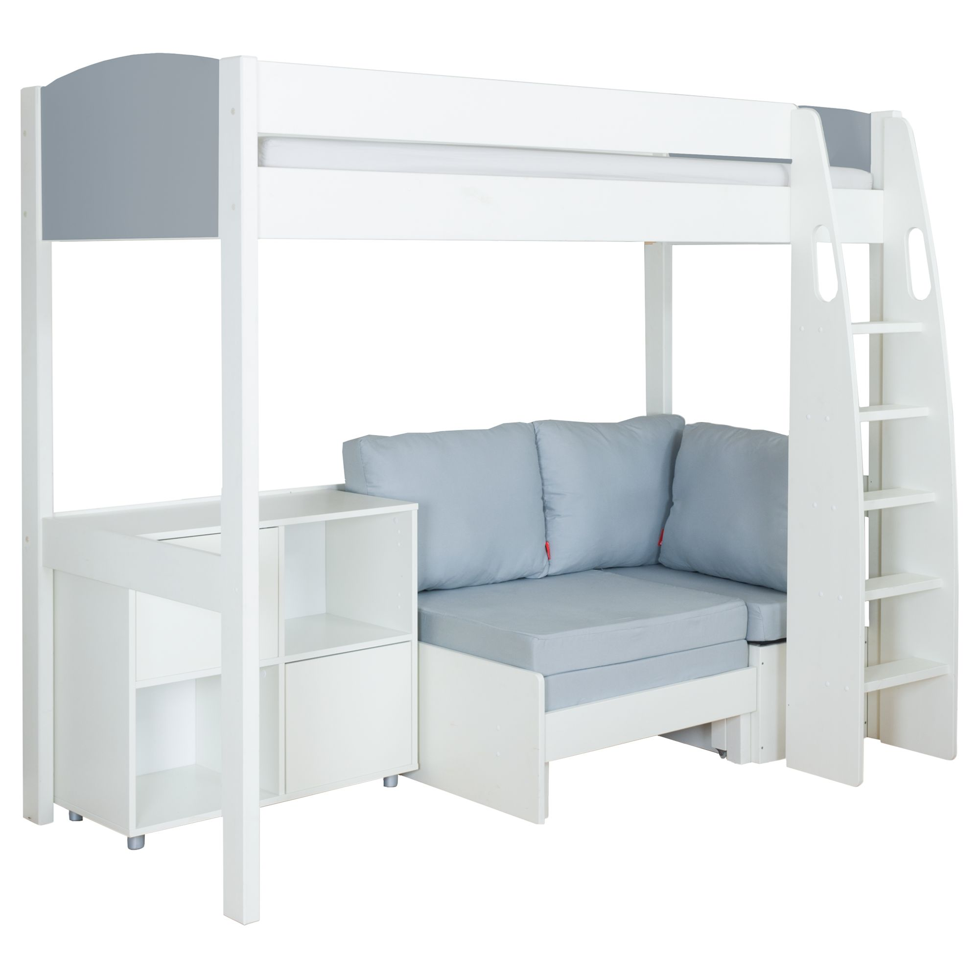Stompa Stompa Uno S Plus High-Sleeper with Grey Headboard, Grey Chair Bed and 2 Door Cube Unit