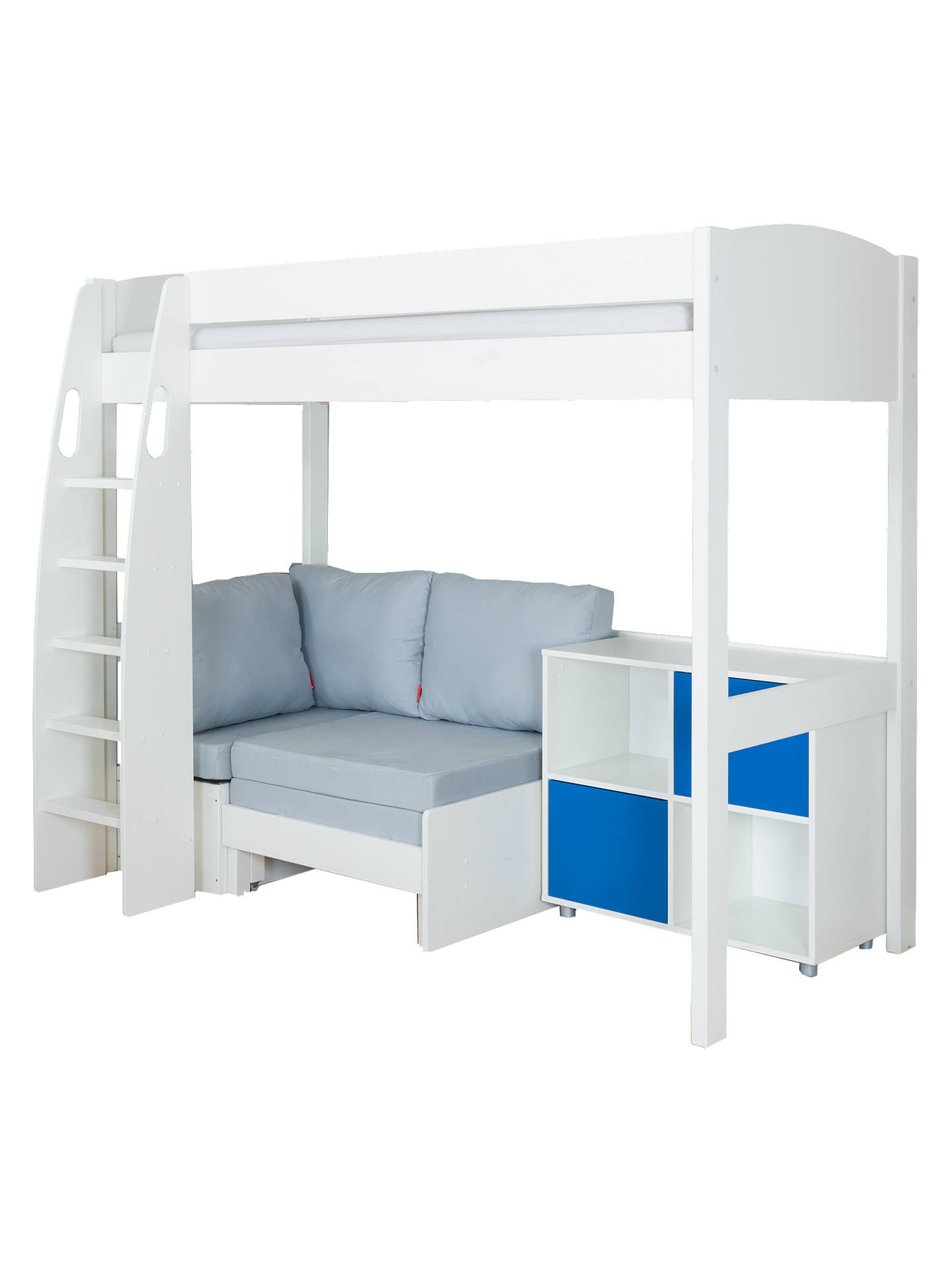 Buy Stompa Uno S Plus High-Sleeper with White Headboard, Grey Chair Bed and 2 Door Cube Unit, Grey/Blue Online at johnlewis.com