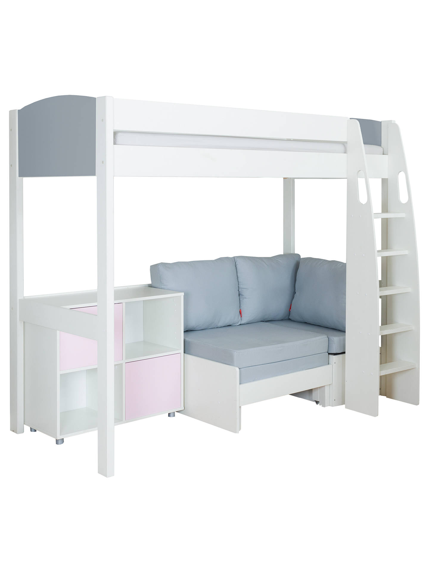 Stompa Uno S Plus High-Sleeper With Grey Headboard, Grey