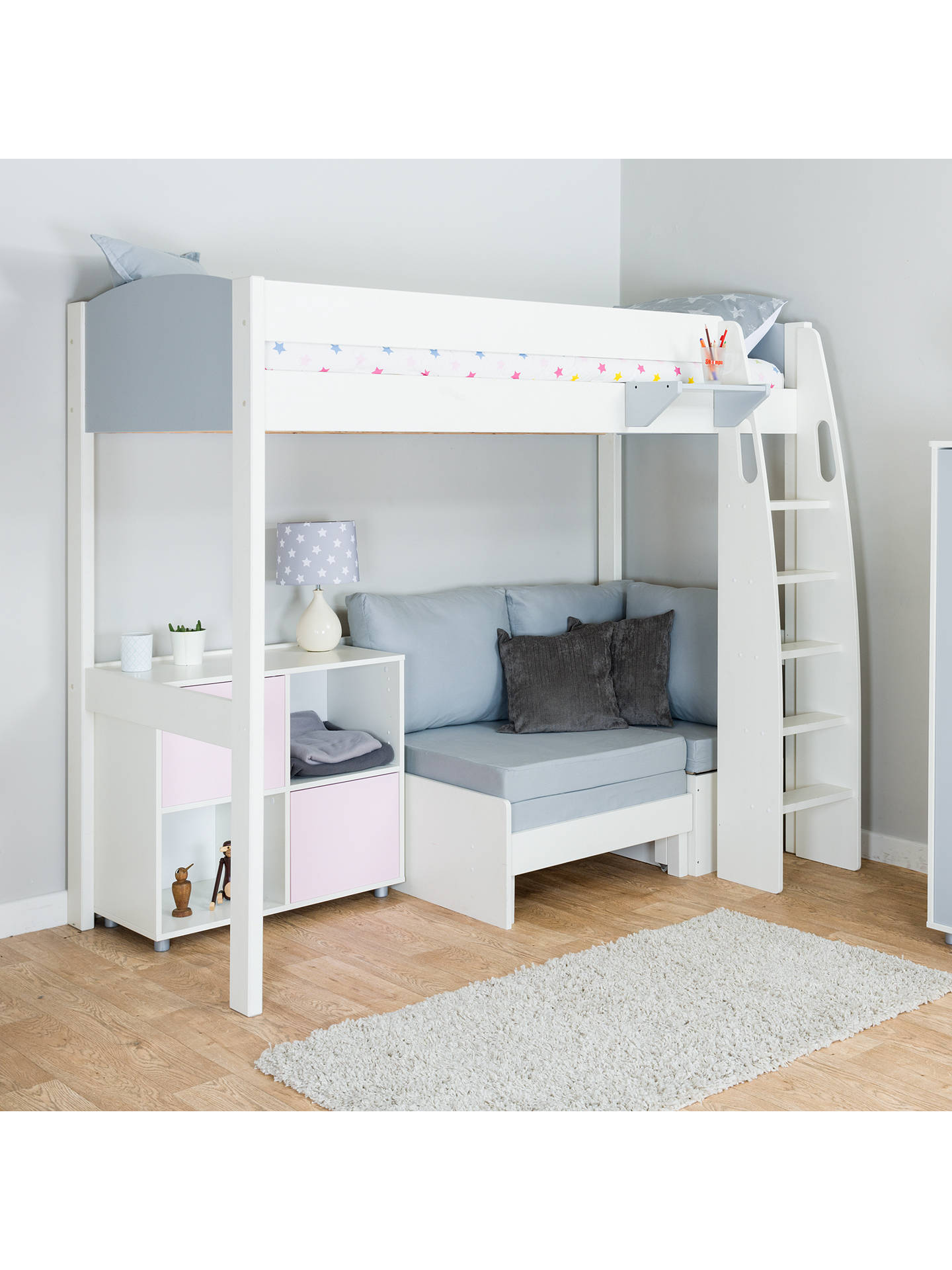 Buy Stompa Uno S Plus High-Sleeper with Grey Headboard, Grey Chair Bed and 2 Door Cube Unit, Grey/Pink Online at johnlewis.com