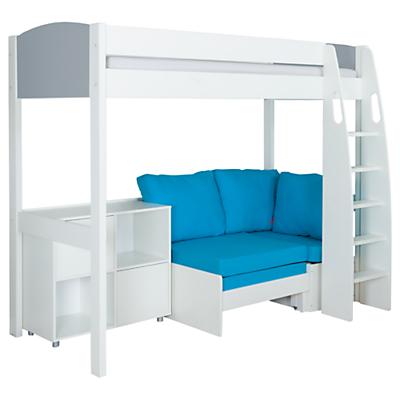 Stompa Uno S Plus High-Sleeper with Grey Headboard, Aqua Chair Bed and 2 Door Cube Unit